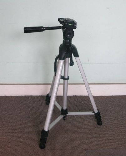 Traveler Camera Tripod Black & Silver with 3-Way Pan-and-Tilt Head And Carry Bag